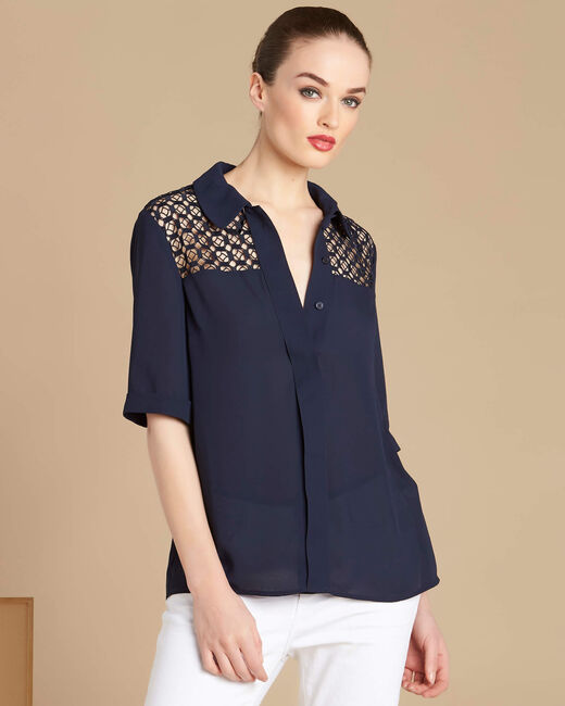 Gaelle navy blue lace blouse with shirt collar (1) - 1-2-3