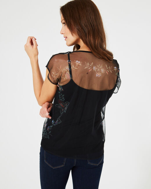 Boost black T-shirt with embroidered flowers and netting details (2) - 1-2-3