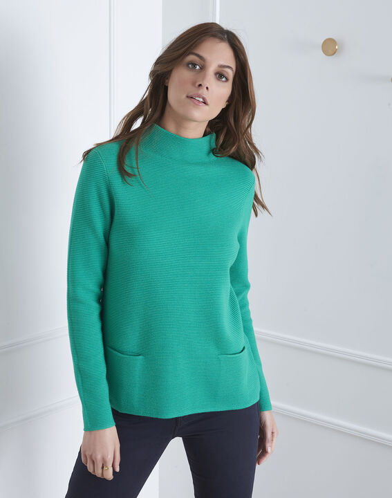 Pull vert maille fine col montant Belize (1) - Maison 123