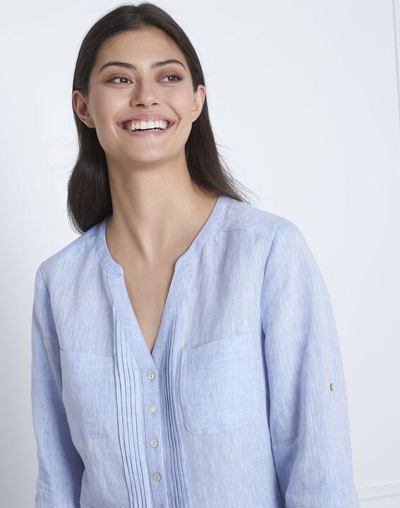 Hemelsblauwe linnen blouse Roma (3) - Maison 123