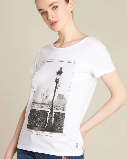 "Ecrufarbenes T-Shirt mit ""Pont des Arts""-Print Enamorada (2) - 1-2-3"