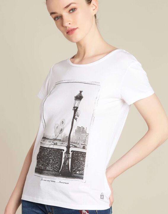 "Ecrufarbenes T-Shirt mit ""Pont des Arts""-Print Enamorada (1) - 1-2-3"
