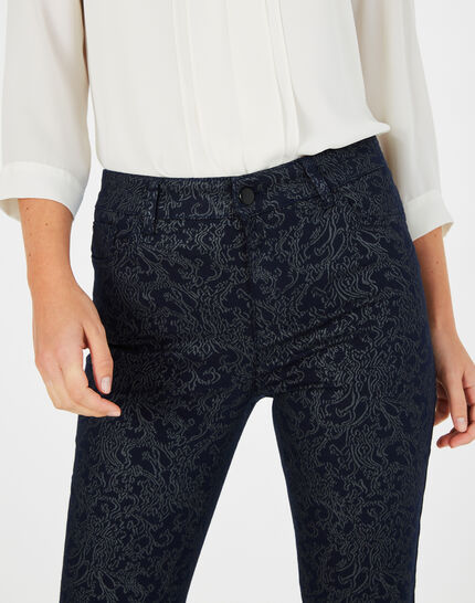 Marineblaue beschichtete 7/8-Jeans mit Brokat-Print Oliver (3) - 1-2-3