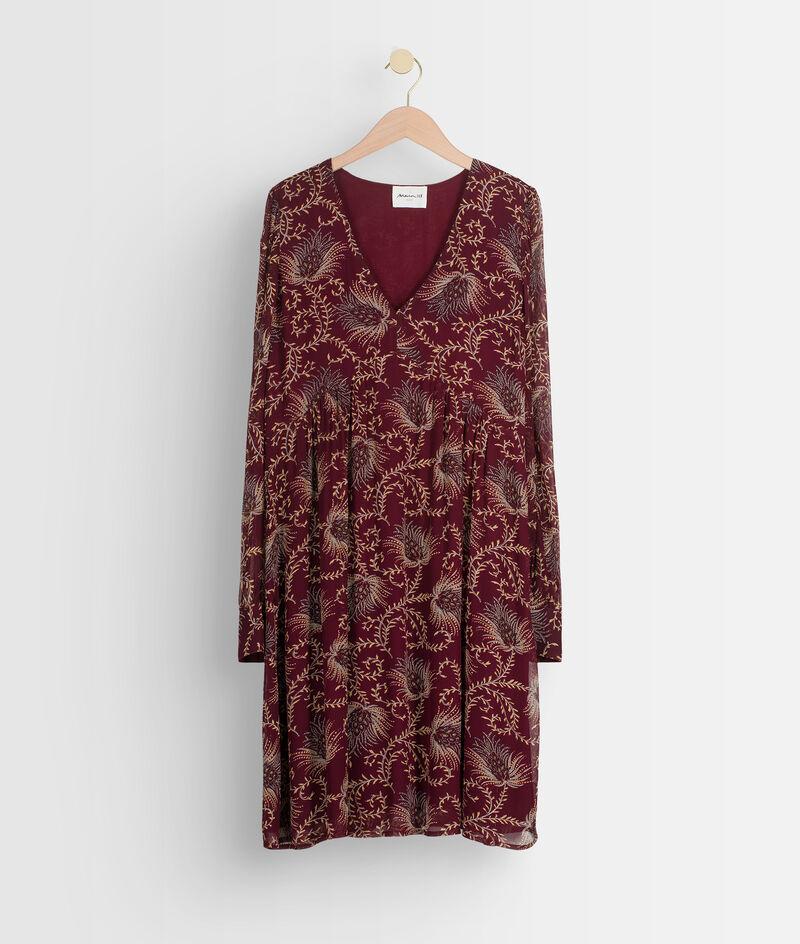 Robe courte imprimée bordeaux Syrine  PhotoZ   1-2-3