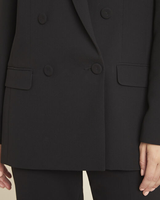 Shana long black double breasted fitted jacket (1) - 1-2-3