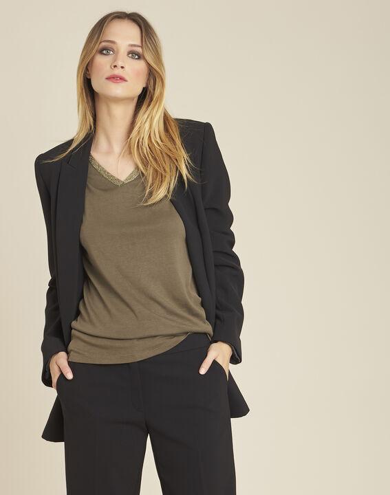 Veste tailleur noire longue à double boutonnage Shana (1) - Maison 123