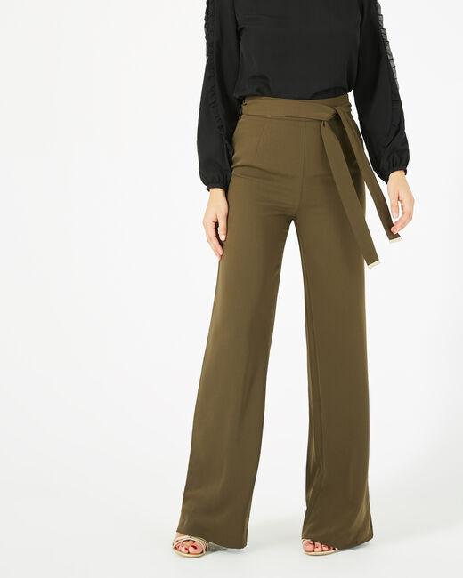 Pantalon kaki de tailleur fluide avec ceinture Voyou (1) - 1-2-3