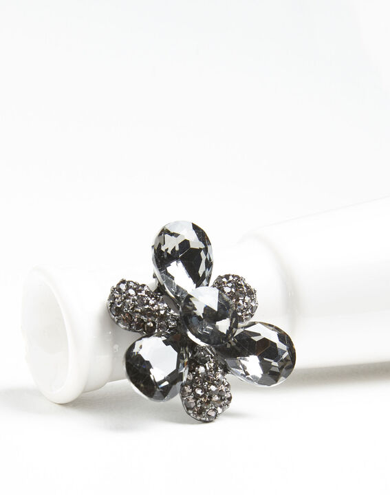 Xiao silver trefoil brooch with black stones  (2) - 1-2-3