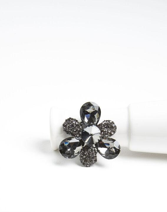 Silberfarbene Kleeblattbrosche und schwarze Steine Xian PhotoZ | 1-2-3
