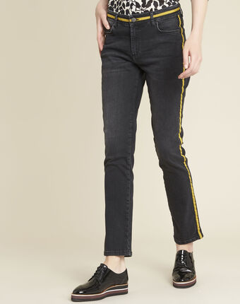 Vivienne yellow straight-cut jeans with side strip black.