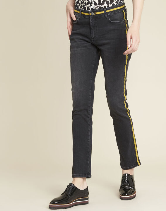 Vivienne yellow straight-cut jeans with side strip (1) - 1-2-3
