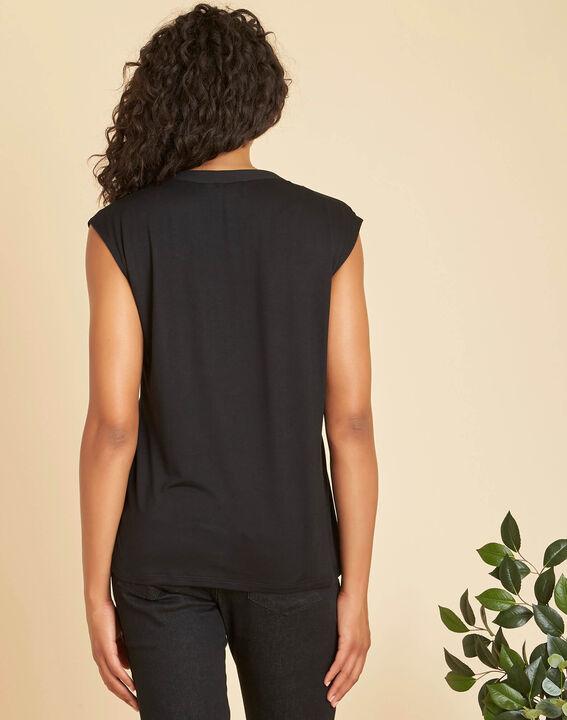 Bianca short-sleeved, black, dual-fabric T-shirt with a mesh collar  (3) - 1-2-3