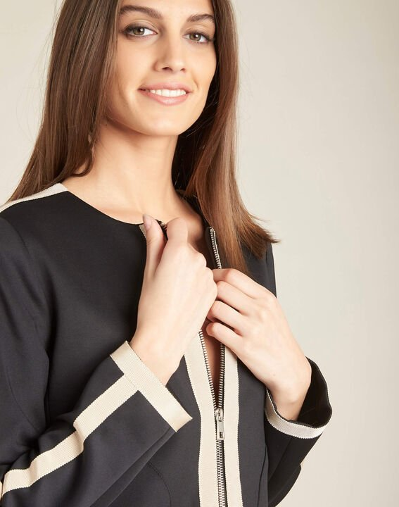 Cassy black belted jacket with zip in neoprene PhotoZ | 1-2-3