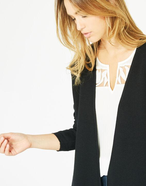 Gilet noir long façon veste en laine mélangée Papyrus (3) - 1-2-3