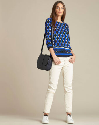 Marineblauwe blouse met grafische print evita marine.