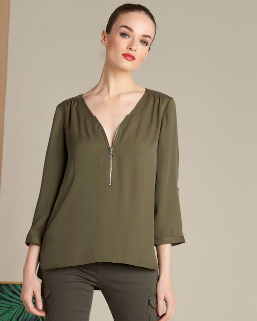 Galia khaki blouse with zipped neckline (2) - 1-2-3