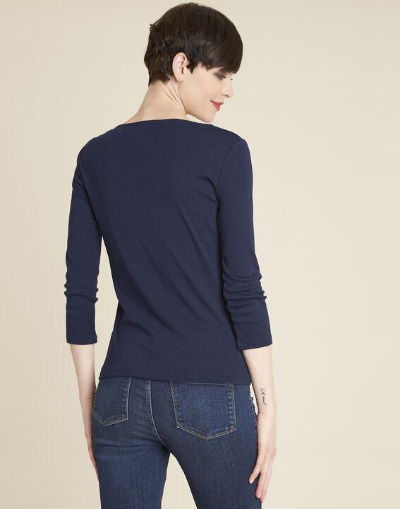 Marineblauw T-shirt met glanzende halsopening Galvani (4) - 37653
