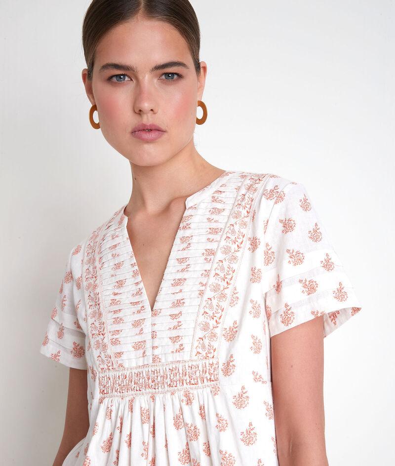 Robe courte en coton imprimé blanche Soledad PhotoZ | 1-2-3