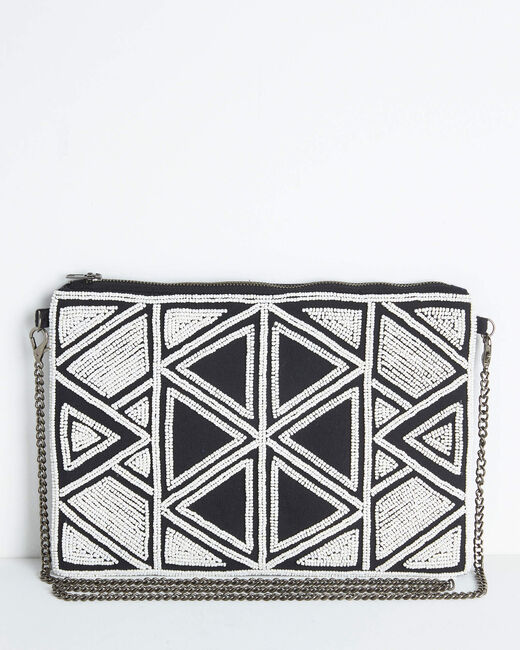 Daphne embroidered and beaded shoulder bag with chain and geometric design (2) - 1-2-3