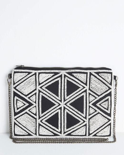 Sac bandoulière à chaine brodé perles motifs géométriques Daphne (2) - 1-2-3