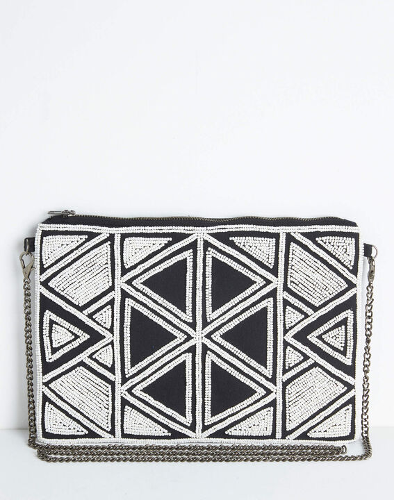 Daphne embroidered and beaded shoulder bag with chain and geometric design PhotoZ   1-2-3