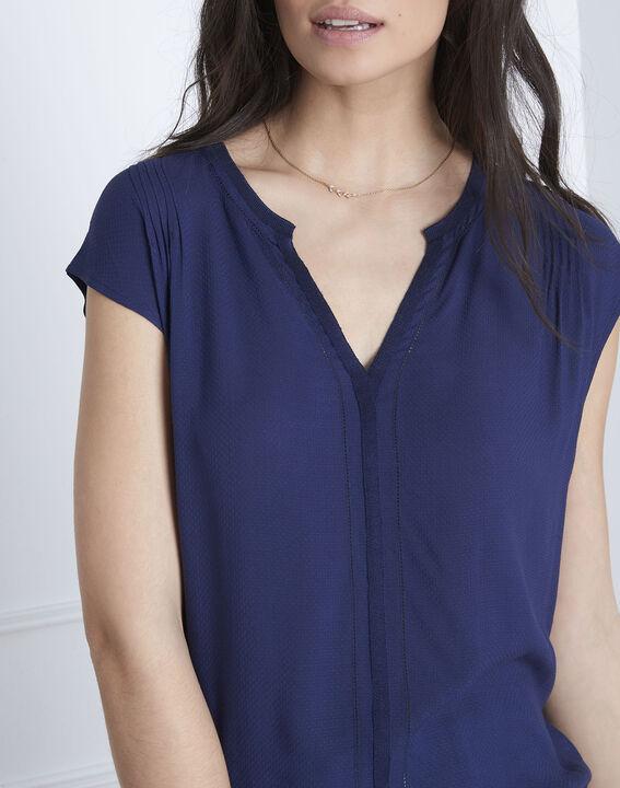 Marineblaue Bluse aus Bimaterial Vanissa (3) - Maison 123
