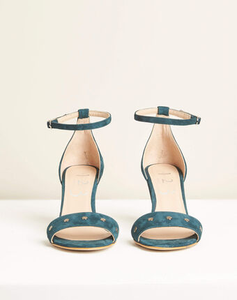 Klen green suede-effect heeled sandals emerald.