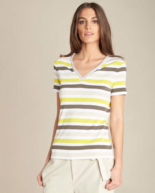 Tee-shirt kaki rayé Embruns (2) - 1-2-3