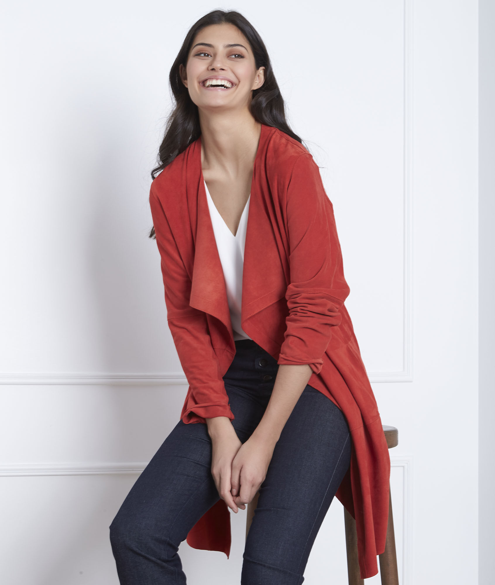 fe5eef224b8df Manteau rouge col chale cuir velours Dgaston - Maison Cent Vingt-Trois