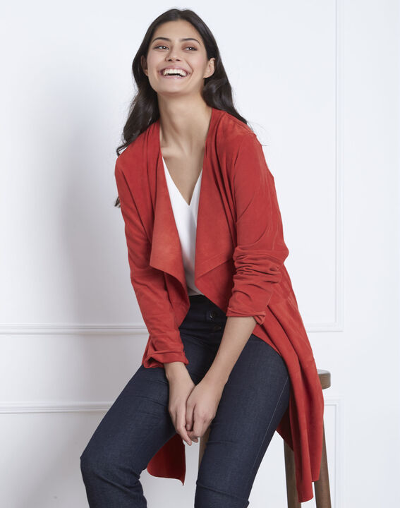 Manteau rouge col chale cuir velours Dgaston (1) - Maison 123