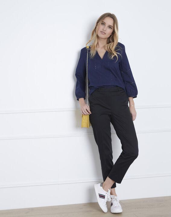 Marineblauwe blouse met Engels borduurwerk Verveine (2) - Maison 123
