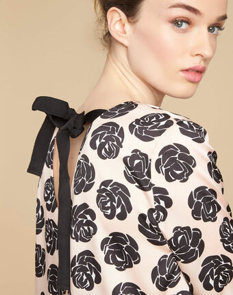 Goa nude top with floral print salmon.