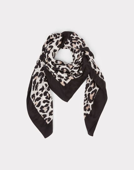 Erwin black silk scarf with animal print (2) - 1-2-3