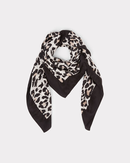Erwin black silk scarf with animal print (1) - 1-2-3