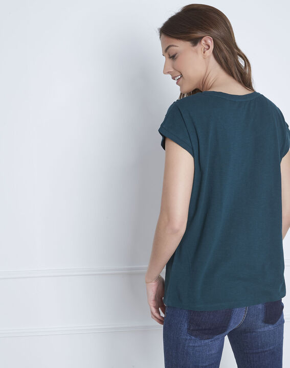 Tee-shirt vert foncé brodé Paola (4) - Maison 123