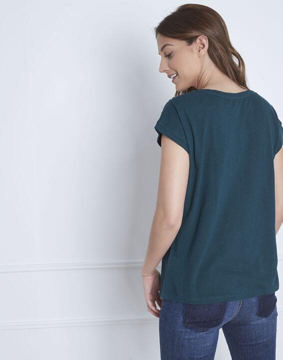 Dunkelgrünes T-Shirt bestickt Paola (4) - Maison 123