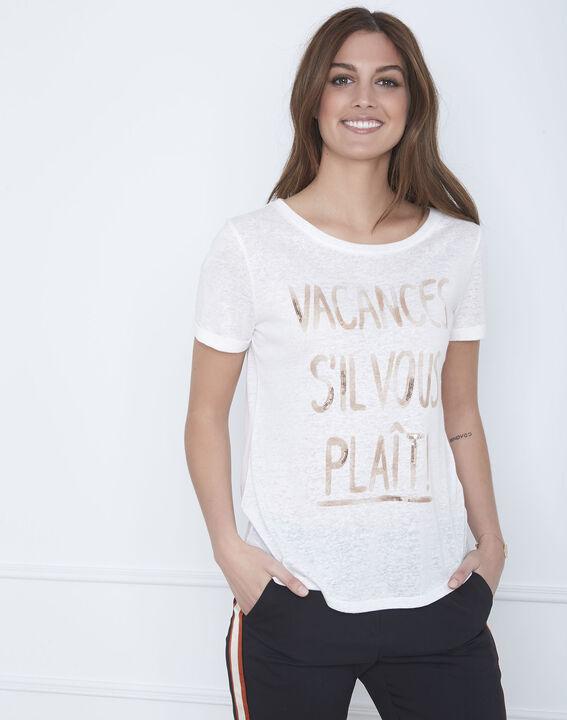 Tee-shirt écru message lin mélangé Patagonia (2) - Maison 123