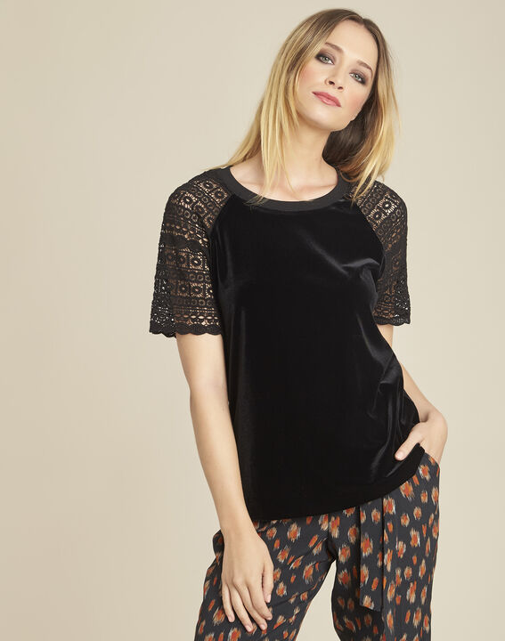 Gecko black velour-effect T-shirt with guipure sleeves PhotoZ | 1-2-3