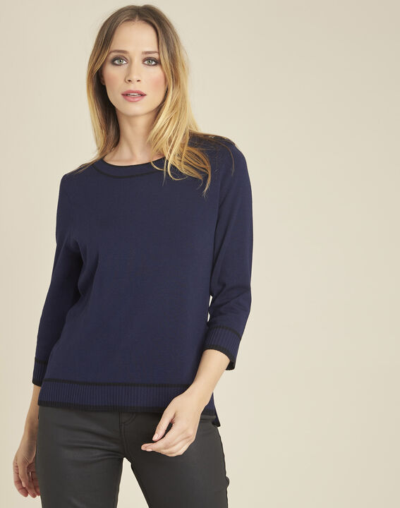 Bella navy blue sweater with rounded neckline and buttons on the shoulders PhotoZ | 1-2-3