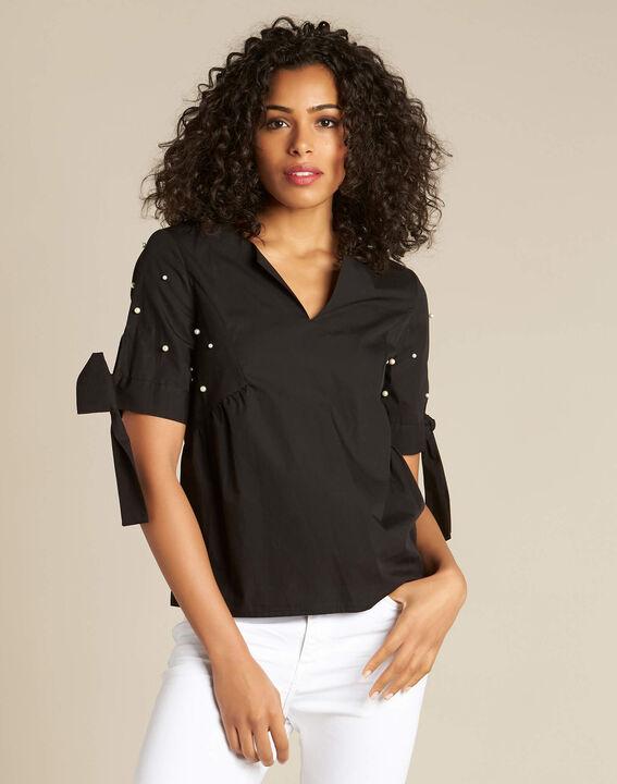 Blouse noire ornée de perles Glamour (3) - 1-2-3