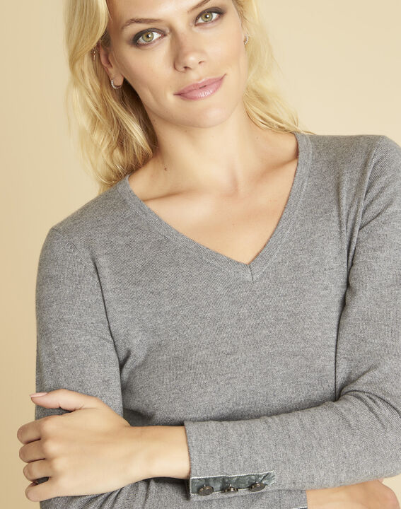 Beth grey cashmere mix sweater with V-neckline (3) - 1-2-3