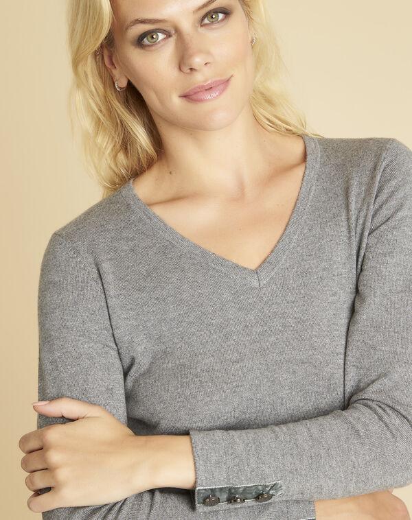 Grijze trui van gemengd kasjmier met V-hals Beth (2) - 37653