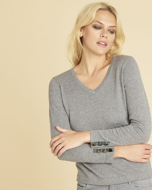 Beth grey cashmere mix sweater with V-neckline (2) - 1-2-3