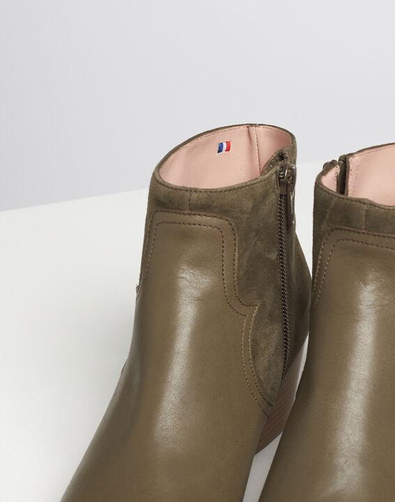 Khakifarbene Absatz-Stiefeletten im Materialmix Kendal PhotoZ | 1-2-3