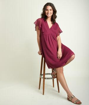 Granaatrode jurk met plumetis Calissa