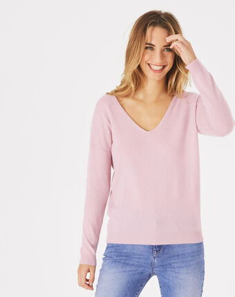 Piment pink cashmere sweater with v-neck dusky rose.