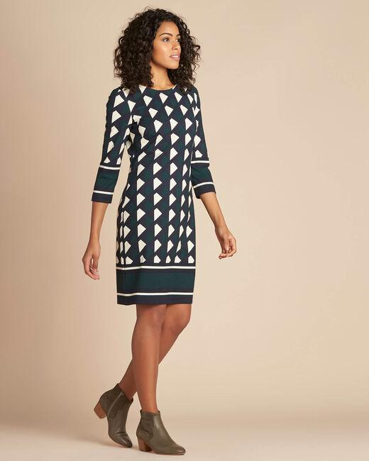Waldgrünes Kleid mit grafischem Print Delila (2) - 1-2-3