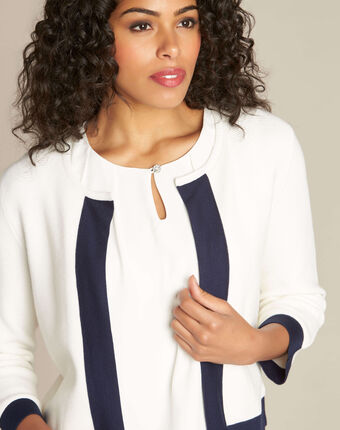 Narcisse white ottoman cardigan with contrasting trim white.