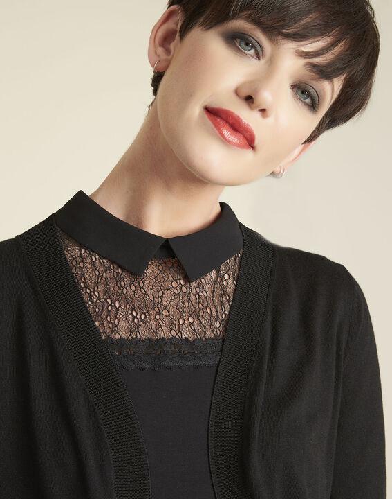 Zwarte bolero van dun tricot Basilic (3) - Maison 123