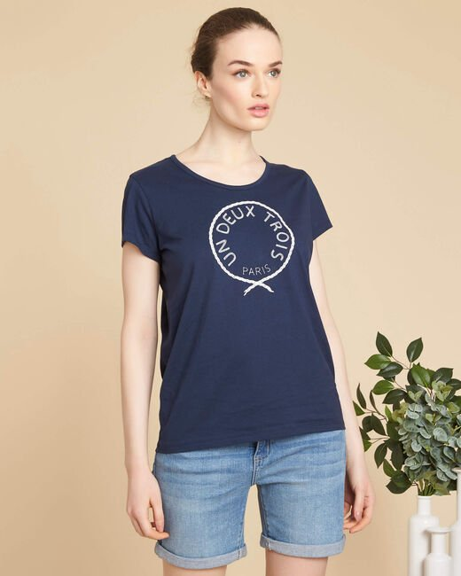 Enoeud embroidered navy T-shirt in cotton (2) - 1-2-3
